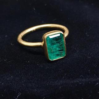 アッシュペーフランス(H.P.FRANCE)のK18 エメラルド リング 9.5号 イエローゴールド インドジュエリー(リング(指輪))