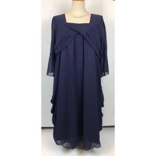 新品◆両脇ドレープシフォンワンピースドレス◆15号◇結婚式 二次会 (ミディアムドレス)
