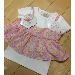 シマムラ(しまむら)のTシャツ&花柄キャミ 2点セット 90サイズ 新品タグ付き しまむら(Tシャツ/カットソー)