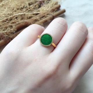 207 k18ゴールドリング 丸翡翠リング ダイヤモンドリング 指輪 ピンクゴ(リング(指輪))