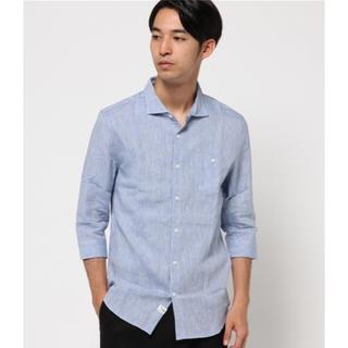 テットオム(TETE HOMME)の定価9504円  テットオム  五分袖 リネンシャツ ブルー サックス Sサイズ(シャツ)