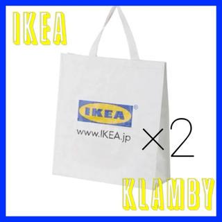 イケア(IKEA)のIKEA KLAMBY ホワイトバッグ 2枚(エコバッグ)