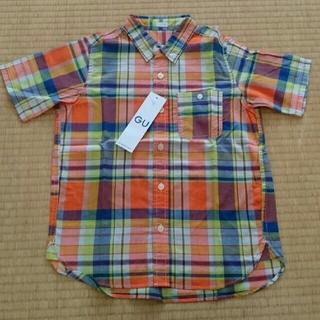 ジーユー(GU)のGU 半袖チェックシャツ 130 オレンジ系(ブラウス)