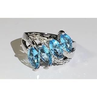 ★ブルートパーズ SILVER925 人工石 鮮やかブルー  13号★(リング(指輪))