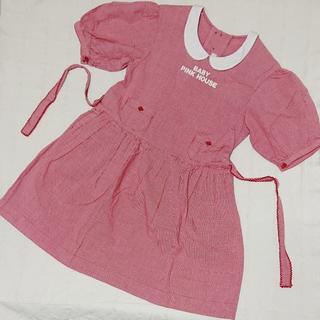 ピンクハウス(PINK HOUSE)の〇421 BABY PINK HOUSE 赤ギンガムのふんわり袖ワンピース S(ワンピース)
