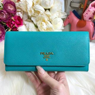 b57f86c4c24a プラダ(PRADA)のPRADA プラダ サフィアーノ 長財布 パスケースつき 青 ブルー(