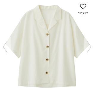 ジーユー(GU)の リネンブレンドオープンカラーシャツ(シャツ/ブラウス(半袖/袖なし))