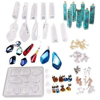 宝石 25種類 シリコンモールド ピアスパーツ ヒートン付 鉱物 アクセサリー製(型紙/パターン)