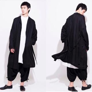 ヨウジヤマモト(Yohji Yamamoto)のCollarless belt coat/yohji yamamoto/syte(カーディガン)