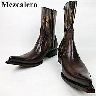 トニーラマ(Tony Lama)の美品 メスカレロ Mezcalero メキシコ製 ウエスタンブーツ サイドジップ(ブーツ)