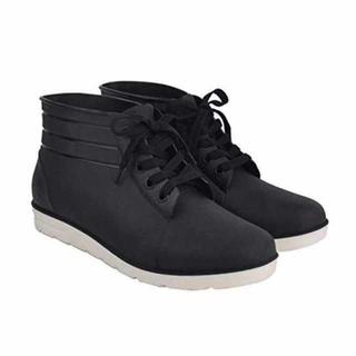 ☆ 新品 ☆スニーカーみたいなレインシューズ 防水(黒)(長靴/レインシューズ)