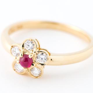ディオール フラワーモチーフ ルビー ダイヤモンド 18金yg13号 リング(リング(指輪))