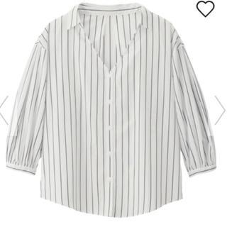 ジーユー(GU)のGU ストライプシャツ パフスリーブ (シャツ/ブラウス(長袖/七分))