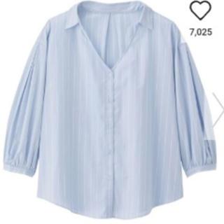 ジーユー(GU)のGU ストライプシャツ パフスリーブ サイズL(シャツ/ブラウス(長袖/七分))