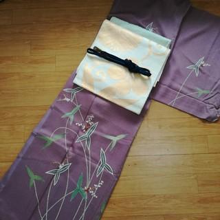ミツコシ(三越)の訪問着 薄紫 紋付 刺繍 三越(着物)