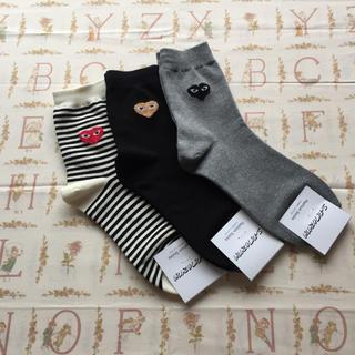 コムデギャルソン(COMME des GARCONS)の❤️ ハート靴下 3足 セット .バラ売り不可 ❤️(ソックス)