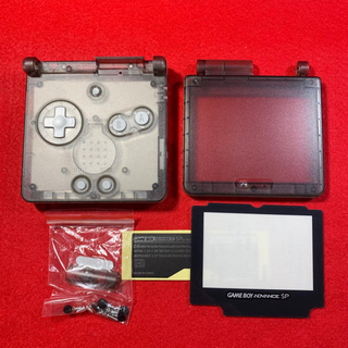 ゲームボーイアドバンス(ゲームボーイアドバンス)のGBASP ゲームボーイアドバンスSP 新品 外装 シェル クリア ブラック(その他)