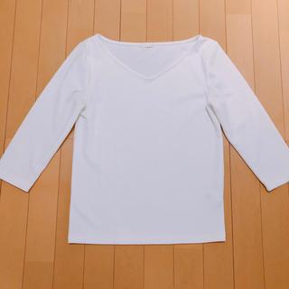 GU - GU ジーユー カットソー 七分袖 ホワイト 白 Vネック