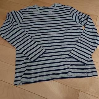 ユニクロ(UNIQLO)の美品☆ユニクロメンズ☆グレー×ネイビーボーダーTシャツ(Tシャツ/カットソー(七分/長袖))