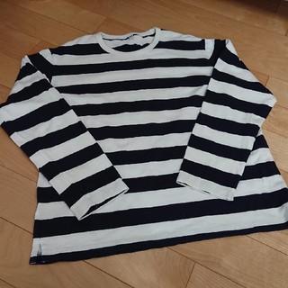 ユニクロ(UNIQLO)の美品☆ユニクロメンズ☆太ボーダーロングTシャツXL(Tシャツ/カットソー(七分/長袖))