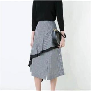 ルシェルブルー(LE CIEL BLEU)のルシェルブルー ギンガムチェックフロウスカート 新品(ひざ丈スカート)
