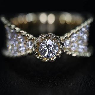 K18 18金 リボン  ダイヤモンド  デザイン  リング 0.73ct(リング(指輪))