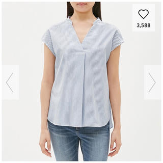 ジーユー(GU)のストライプシャツ ノースリーブ(シャツ/ブラウス(半袖/袖なし))