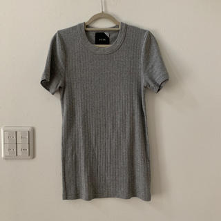デミルクスビームス(Demi-Luxe BEAMS)の値下げ  ATON  ワイドリブカットソー  ティシャツ01  グレー(Tシャツ(半袖/袖なし))