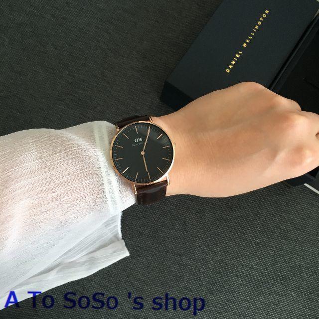 Daniel Wellington(ダニエルウェリントン)の限定お値下げ DW BLACK  BRISTOL 36ミリ ローズゴールド メンズの時計(腕時計(アナログ))の商品写真