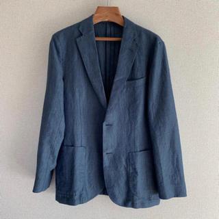 ユニクロ(UNIQLO)のユニクロ UNIQLO ジャケット ライトブルー 春夏用 麻素材 Mサイズ(テーラードジャケット)