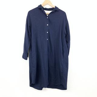 ムジルシリョウヒン(MUJI (無印良品))の美品   無印良品 MUJI サイズM シャツワンピース 長袖 ネイビー 紺 (ひざ丈ワンピース)