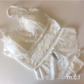 新品 白 ブラトップ&ショーツセット 001002白ショーツMサイズ(ブラ&ショーツセット)