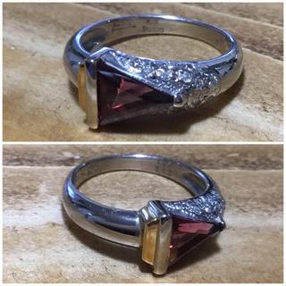 トリリアント✨ロードライトガーネット&ダイヤリング 指輪9号 簡易鑑別付(リング(指輪))