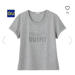 ジーユー(GU)の美品 ジーユー グラフィックTシャツ グレー S(Tシャツ(半袖/袖なし))