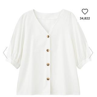 ジーユー(GU)のGU♡リネンフロントボタンブラウス(シャツ/ブラウス(半袖/袖なし))