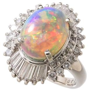 【ブラックオパール2.3ct/ダイヤモンド計0.85ct】指輪/リング(リング(指輪))