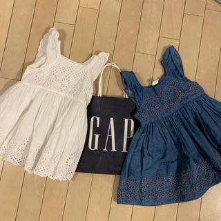 ベビーギャップ(babyGAP)の【Baby GAP 】美品定番コットンワンピース2枚セット90(ワンピース)