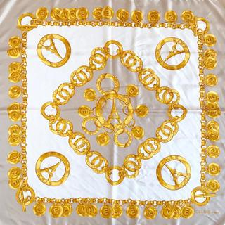 セリーヌ(celine)のCELINE スカーフ シルク100% ベージュ×ゴールド×ホワイト(バンダナ/スカーフ)