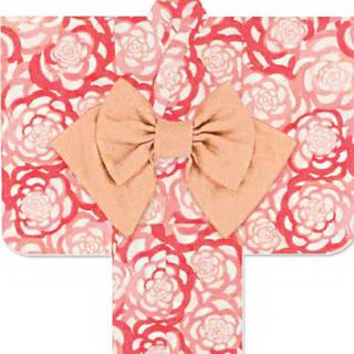 ツモリチサト(TSUMORI CHISATO)のツモリチサト 浴衣 キッズ 110 バラ 赤 ピンク 夕涼み会 盆踊り(甚平/浴衣)