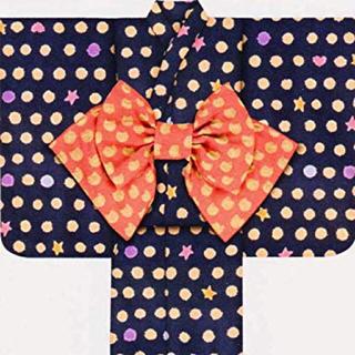 ツモリチサト(TSUMORI CHISATO)のツモリチサト 浴衣 キッズ 120 紺色 ハート 星 ドット柄 夕涼み会 盆踊り(甚平/浴衣)