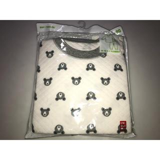 ユニクロ(UNIQLO)の24ユニクロキルティングパジャマ 80cm 上下セット 白xグレー系 クマ くま(パジャマ)