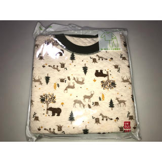 ユニクロ(UNIQLO)の26ユニクロ キルティングパジャマ 80cm 上下セット 薄茶色系 アニマル動物(パジャマ)