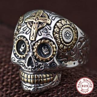 スターリングシルバー 925 メキシカン スカルリング 22号相当 髑髏 ドクロ(リング(指輪))