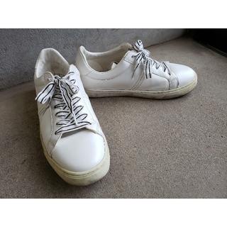 ザラ(ZARA)のZARA 靴紐ストライプシンプルスニーカー ホワイト 25(スニーカー)