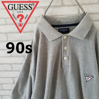ゲス(GUESS)の【90s】GUESS 刺繍ワンポイントロゴ ポロシャツ Lサイズ(ポロシャツ)