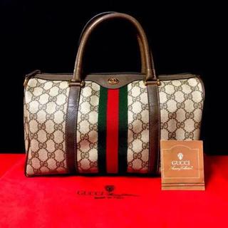 グッチ(Gucci)の美品 グッチ オールドグッチ シェリーライン ボストンバッグ ハンドバッグ(ボストンバッグ)