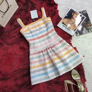 シャネル(CHANEL)の美品❤CHANEL 虹 ワンピース 吊りスカート S(ミニワンピース)
