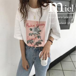 エイミーイストワール(eimy istoire)のFlower print T-shirt🥀/フラワープリント Tシャツ(Tシャツ/カットソー(半袖/袖なし))