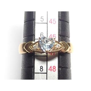 194. K18 指輪 ハート 色石 D 石目無し 7号(リング(指輪))