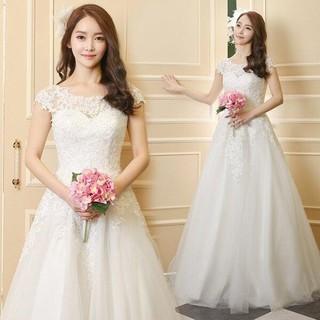 33ウェディングドレス 白 結婚式 ロングドレス aラインドレス 安い(ウェディングドレス)